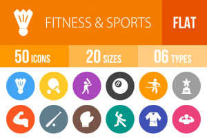 50 Fitness & Sports Flat Round Icons - Overview - IconBunny