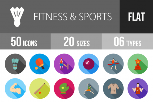 50 Fitness & Sports Flat Shadowed Icons - Overview - IconBunny