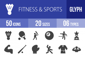 50 Fitness & Sports Glyph Icons - Overview - IconBunny
