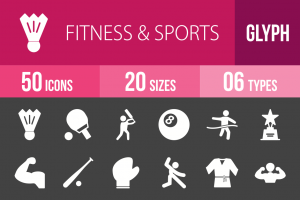 50 Fitness & Sports Glyph Inverted Icons - Overview - IconBunny