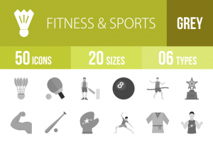 50 Fitness & Sports Greyscale Icons - Overview - IconBunny