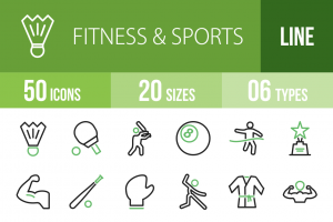 50 Fitness & Sports Line Green & Black Icons - Overview - IconBunny