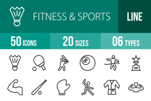 50 Fitness & Sports Line Icons - Overview - IconBunny