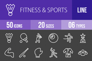 50 Fitness & Sports Line Inverted Icons - Overview - IconBunny
