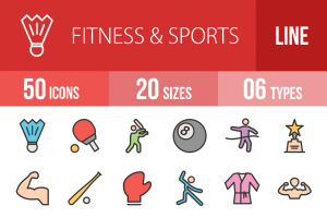 50 Fitness & Sports Line Multicolor Filled Icons - Overview - IconBunny