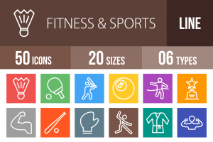 50 Fitness & Sports Line Multicolor B/G Icons - Overview - IconBunny