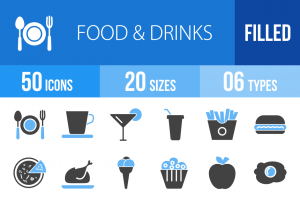 50 Food & Drinks Blue & Black Icons - Overview - IconBunny