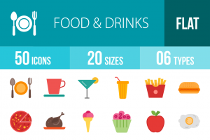 50 Food & Drinks Flat Multicolor Icons - Overview - IconBunny