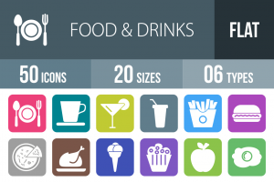 50 Food & Drinks Flat Round Corner Icons - Overview - IconBunny