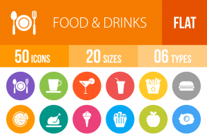 50 Food & Drinks Flat Round Icons - Overview - IconBunny