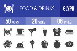 50 Food & Drinks Glyph Icons - Overview - IconBunny
