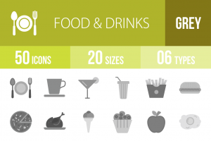 50 Food & Drinks Greyscale Icons - Overview - IconBunny