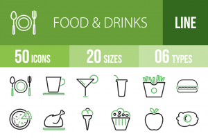 50 Food & Drinks Line Green & Black Icons - Overview - IconBunny