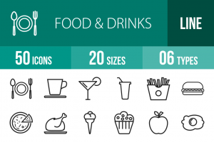 50 Food & Drinks Line Icons - Overview - IconBunny