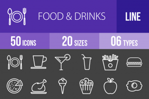 50 Food & Drinks Line Inverted Icons - Overview - IconBunny