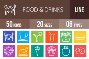 50 Food & Drinks Line Multicolor B/G Icons - Overview - IconBunny