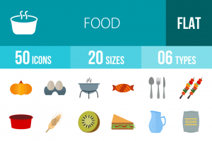 50 Food Flat Multicolor Icons - Overview - IconBunny