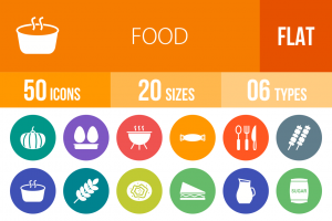 50 Food Flat Round Icons - Overview - IconBunny