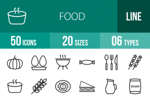 50 Food Line Icons - Overview - IconBunny