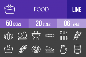 50 Food Line Inverted Icons - Overview - IconBunny