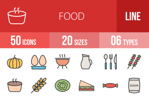 50 Food Line Multicolor Filled Icons - Overview - IconBunny