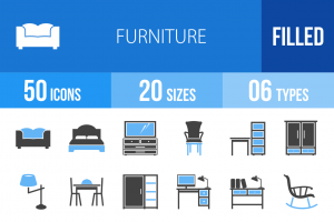 50 Furniture Blue & Black Icons - Overview - IconBunny