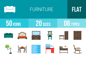50 Furniture Flat Multicolor Icons - Overview - IconBunny