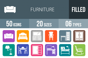 50 Furniture Flat Round Corner Icons - Overview - IconBunny