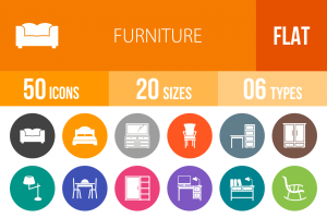 50 Furniture Flat Round Icons - Overview - IconBunny