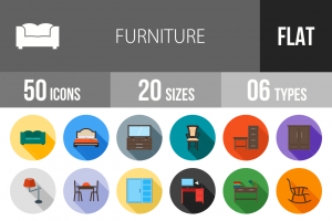 50 Furniture Flat Shadowed Icons - Overview - IconBunny