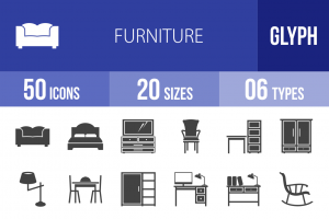 50 Furniture Glyph Icons - Overview - IconBunny