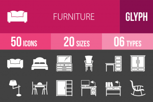 50 Furniture Glyph Inverted Icons - Overview - IconBunny