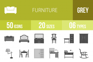 50 Furniture Greyscale Icons - Overview - IconBunny