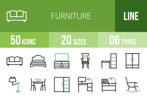 50 Furniture Line Green & Black Icons - Overview - IconBunny