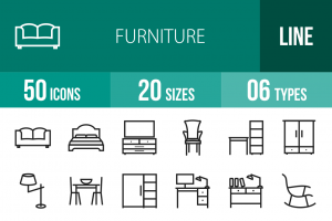 50 Furniture Line Icons - Overview - IconBunny