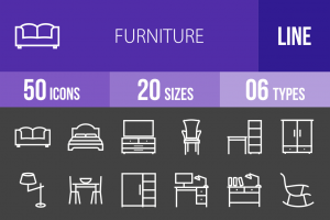 50 Furniture Line Inverted Icons - Overview - IconBunny