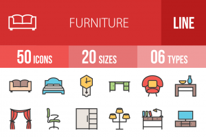50 Furniture Line Multicolor Filled Icons - Overview - IconBunny