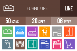 50 Furniture Line Multicolor B/G Icons - Overview - IconBunny
