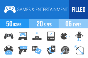 50 Games & Entertainment Blue Black Icons - Overview - IconBunny