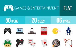 50 Games & Entertainment Flat Multicolor Icons - Overview - IconBunny