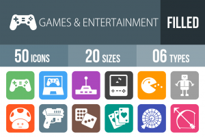 50 Games & Entertainment Flat Round Corner Icons - Overview - IconBunny