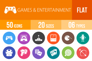 50 Games & Entertainment Flat Round Icons - Overview - IconBunny