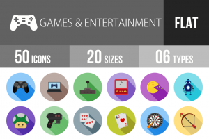 50 Games & Entertainment Flat Shadowed Icons - Overview - IconBunny
