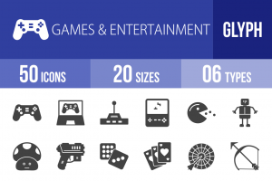 50 Games & Entertainment Glyph Icons - Overview - IconBunny