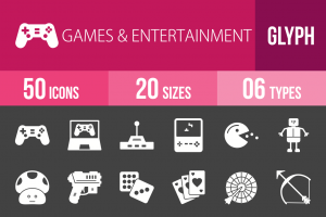 50 Games & Entertainment Glyph Inverted Icons - Overview - IconBunny