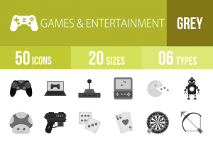 50 Games & Entertainment Greyscale Icons - Overview - IconBunny