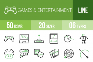 50 Games & Entertainment Line Green Black Icons - Overview - IconBunny