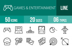 50 Games & Entertainment Line Icons - Overview - IconBunny