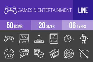 50 Games & Entertainment Line Inverted Icons - Overview - IconBunny