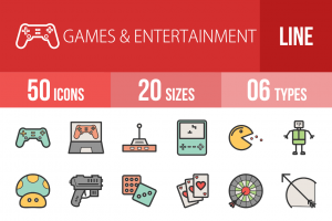 50 Games & Entertainment Line Multicolor Filled Icons - Overview - IconBunny